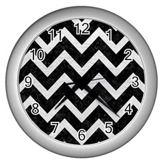 Chevron9 Black Marble & White Leather (r) Wall Clocks (silver)  by trendistuff