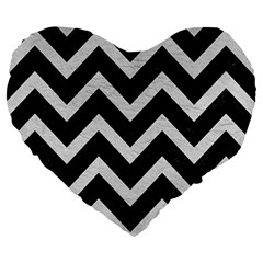 Chevron9 Black Marble & White Leather (r) Large 19  Premium Heart Shape Cushions by trendistuff