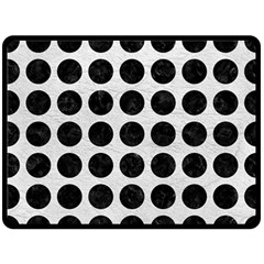 Circles1 Black Marble & White Leather Fleece Blanket (large)  by trendistuff