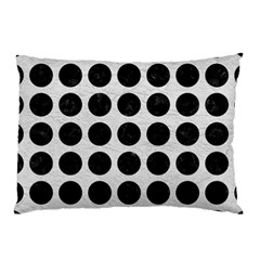 Circles1 Black Marble & White Leather Pillow Case (two Sides)
