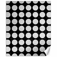 Circles1 Black Marble & White Leather (r) Canvas 11  X 14   by trendistuff