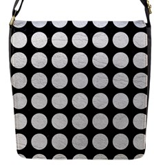 Circles1 Black Marble & White Leather (r) Flap Messenger Bag (s) by trendistuff