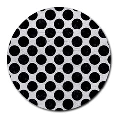 Circles2 Black Marble & White Leather Round Mousepads by trendistuff
