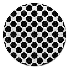 Circles2 Black Marble & White Leather Magnet 5  (round) by trendistuff