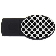 Circles2 Black Marble & White Leather Usb Flash Drive Oval (4 Gb) by trendistuff
