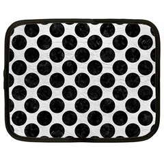 Circles2 Black Marble & White Leather Netbook Case (large) by trendistuff