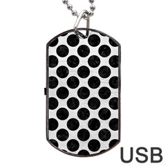 Circles2 Black Marble & White Leather Dog Tag Usb Flash (one Side) by trendistuff