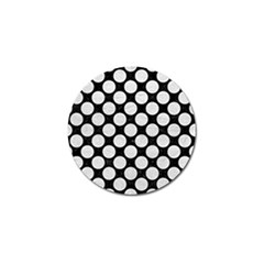 Circles2 Black Marble & White Leather (r) Golf Ball Marker by trendistuff