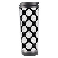 Circles2 Black Marble & White Leather (r) Travel Tumbler by trendistuff