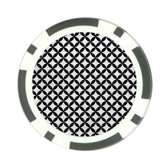 Circles3 Black Marble & White Leather Poker Chip Card Guard by trendistuff