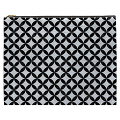 Circles3 Black Marble & White Leather Cosmetic Bag (xxxl)  by trendistuff