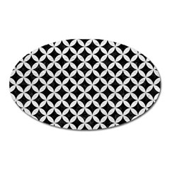 Circles3 Black Marble & White Leather (r) Oval Magnet by trendistuff