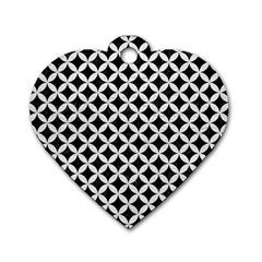 Circles3 Black Marble & White Leather (r) Dog Tag Heart (two Sides) by trendistuff