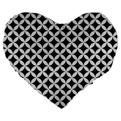 Circles3 Black Marble & White Leather (r) Large 19  Premium Heart Shape Cushions by trendistuff