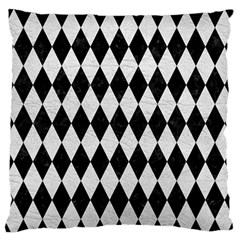 Diamond1 Black Marble & White Leather Large Flano Cushion Case (two Sides) by trendistuff