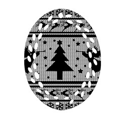 Ugly Christmas Sweater Oval Filigree Ornament (two Sides)