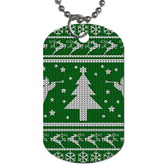 Ugly Christmas Sweater Dog Tag (one Side) by Valentinaart