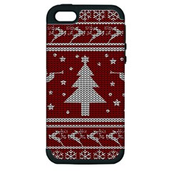 Ugly Christmas Sweater Apple Iphone 5 Hardshell Case (pc+silicone) by Valentinaart