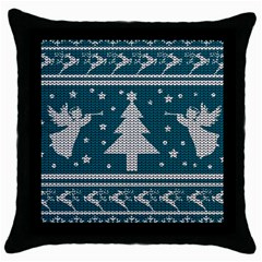 Ugly Christmas Sweater Throw Pillow Case (black) by Valentinaart