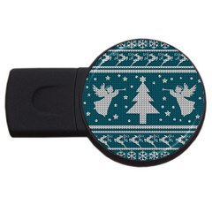 Ugly Christmas Sweater Usb Flash Drive Round (4 Gb) by Valentinaart