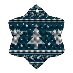 Ugly Christmas Sweater Snowflake Ornament (two Sides)