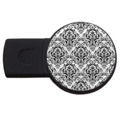 Damask1 Black Marble & White Leather Usb Flash Drive Round (4 Gb) by trendistuff
