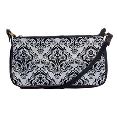 Damask1 Black Marble & White Leather Shoulder Clutch Bags by trendistuff