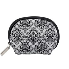 Damask1 Black Marble & White Leather Accessory Pouches (small)  by trendistuff