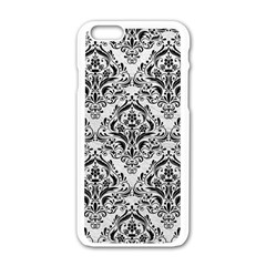 Damask1 Black Marble & White Leather Apple Iphone 6/6s White Enamel Case by trendistuff