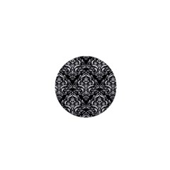 Damask1 Black Marble & White Leather (r) 1  Mini Buttons by trendistuff