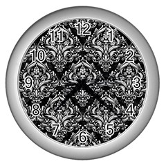 Damask1 Black Marble & White Leather (r) Wall Clocks (silver)