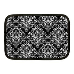 Damask1 Black Marble & White Leather (r) Netbook Case (medium)  by trendistuff