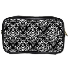 Damask1 Black Marble & White Leather (r) Toiletries Bags 2 Side by trendistuff