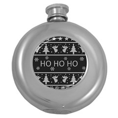 Ugly Christmas Sweater Round Hip Flask (5 Oz) by Valentinaart