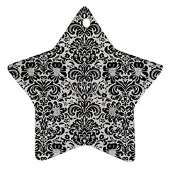 Damask2 Black Marble & White Leather Star Ornament (two Sides) by trendistuff