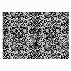 Damask2 Black Marble & White Leather Large Glasses Cloth (2 Side)
