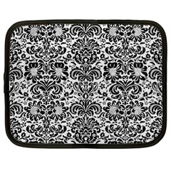 Damask2 Black Marble & White Leather Netbook Case (xl)  by trendistuff