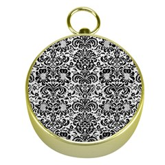 Damask2 Black Marble & White Leather Gold Compasses by trendistuff