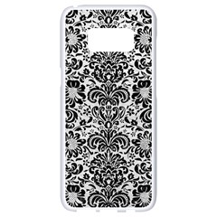 Damask2 Black Marble & White Leather Samsung Galaxy S8 White Seamless Case by trendistuff