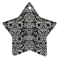 Damask2 Black Marble & White Leather (r) Star Ornament (two Sides) by trendistuff