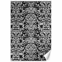 Damask2 Black Marble & White Leather (r) Canvas 20  X 30   by trendistuff