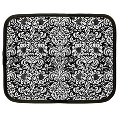 Damask2 Black Marble & White Leather (r) Netbook Case (large) by trendistuff