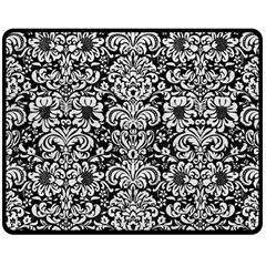 Damask2 Black Marble & White Leather (r) Fleece Blanket (medium)  by trendistuff