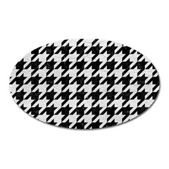 Houndstooth1 Black Marble & White Leather Oval Magnet by trendistuff
