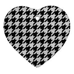 Houndstooth1 Black Marble & White Leather Heart Ornament (two Sides) by trendistuff