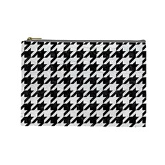 Houndstooth1 Black Marble & White Leather Cosmetic Bag (large)  by trendistuff