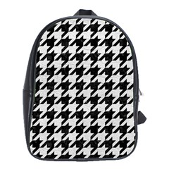 Houndstooth1 Black Marble & White Leather School Bag (xl) by trendistuff