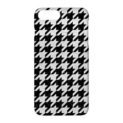 Houndstooth1 Black Marble & White Leather Apple Iphone 8 Plus Hardshell Case by trendistuff