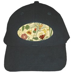 Floral Art Nouveau Black Cap by 8fugoso