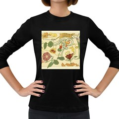 Floral Art Nouveau Women s Long Sleeve Dark T Shirts by 8fugoso